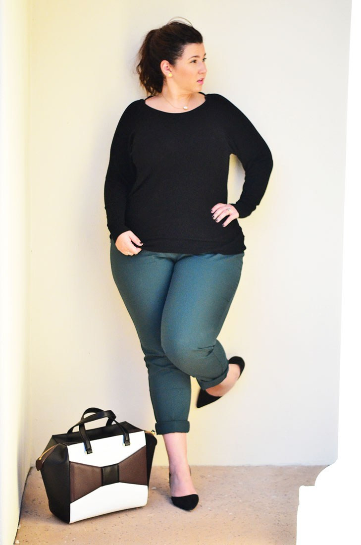 crystal coons plus size fall model green pants business friendly