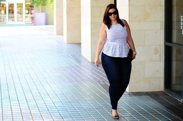 striped peplum | skinny jeans | leopard shoes