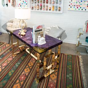 Royal Purple Maple Burl on Polished Brass Mod Executive Desk