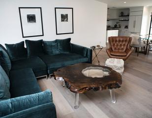 "60"" Walnut Burl Ring Coffee Table w/ Glass Island and Modern Lucite Legs"