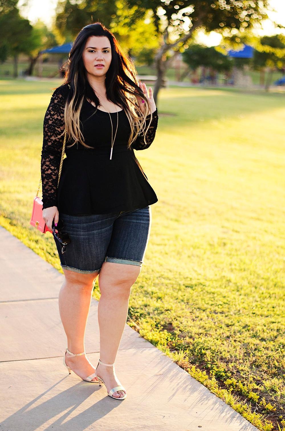bermuda shorts peplum shirt city chic date night plus size ootd iridescent heels casual simple chic