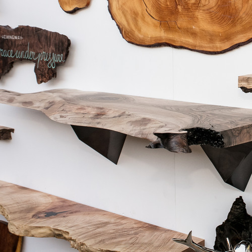 Large English Walnut Live Edge Shelf With Modern Corbels