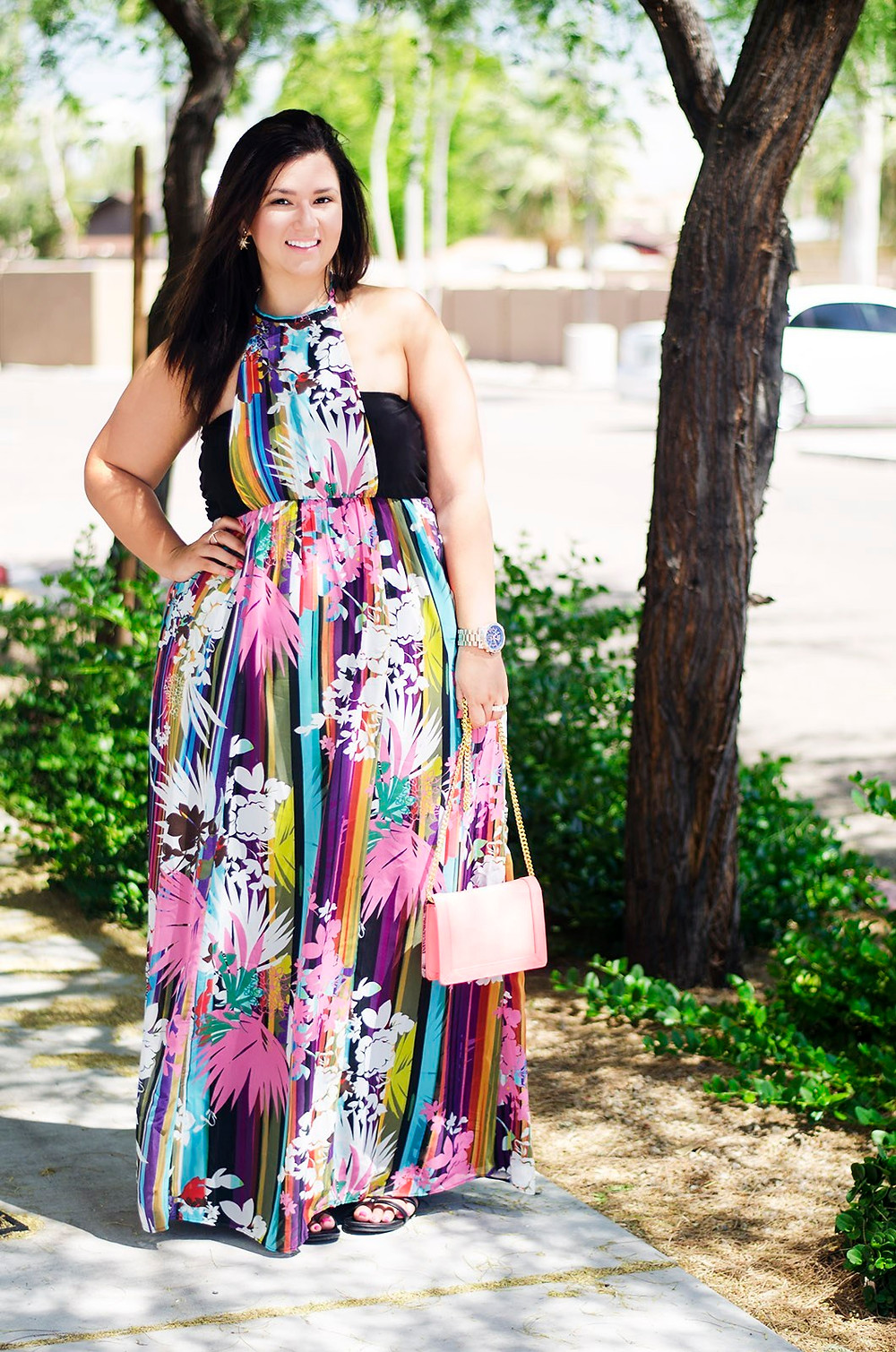 plus size maxi dress ootd colorful summer maxi floor length