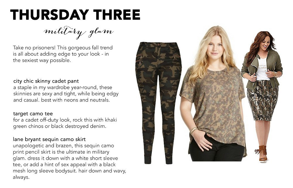 Military Glam Camouflage plus size trends fall 2015 thursday three crystal coons fashion styling