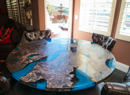 """Maple Burl """"Scorched Earth"""" River Dining Table"""