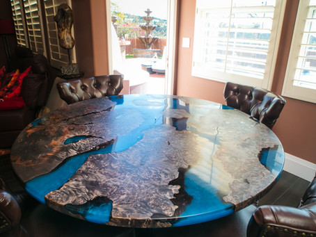 "Maple Burl ""Scorched Earth"" River Dining Table"