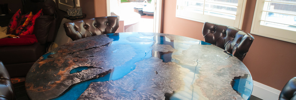 """58"""" """"Scorched Earth"""" Ebonized Maple Burl Planetary Resin Art Dining Table"""