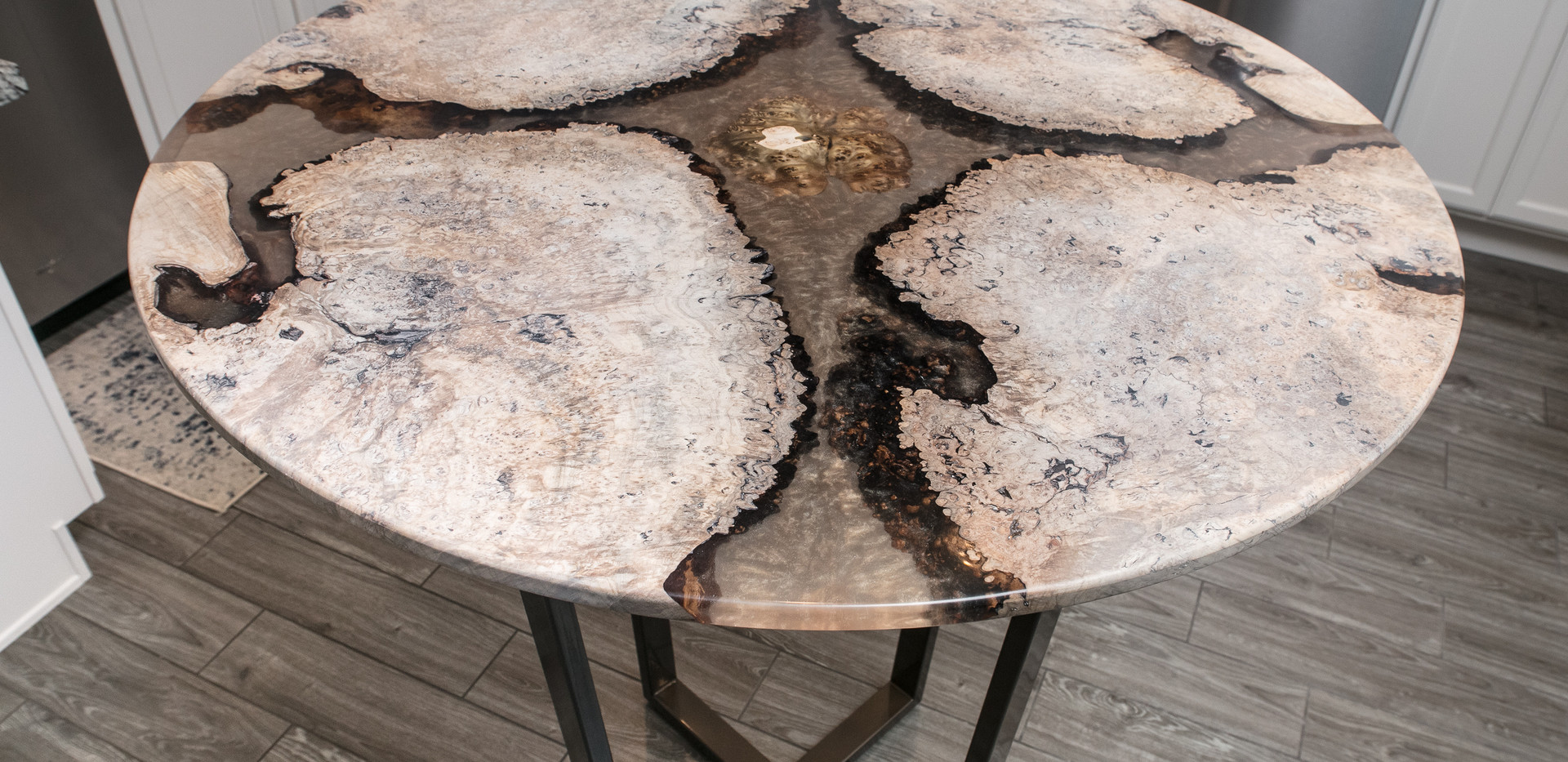 """42"""" Hightop River Table, White Waxed Burl+Clear/Gold Shimmer Resin"""
