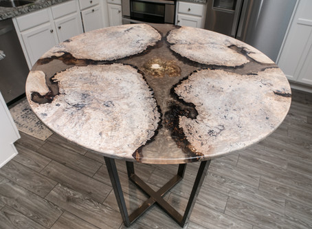 Maple Burl w/ Clear Gold Shimmer Planetary Resin River Table