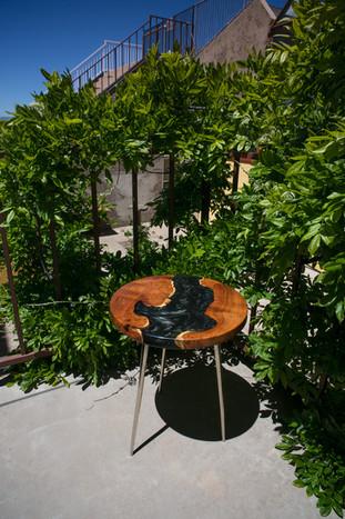 Mesquite Burl Live Edge Resin River End Table