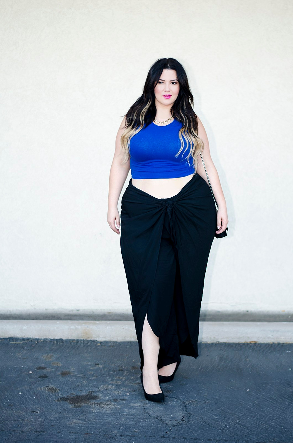 plus size black pants wrap ootd crystal coons crop top city chic