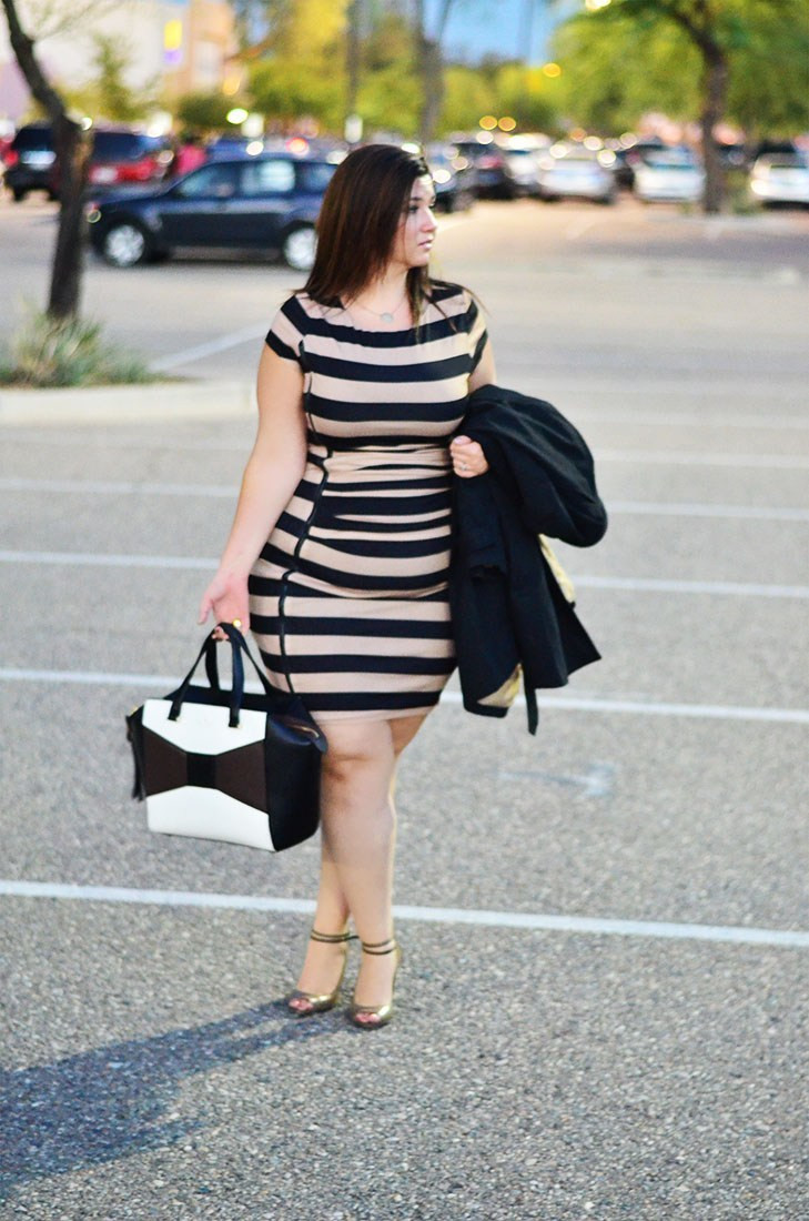 crystal coons plus size ootd eloquii striped bodycon dress fall 2014 dresses fashion