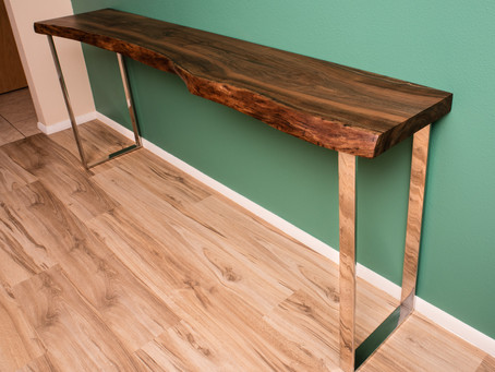 Black Walnut Live Edge Console/Sofa Table w/ Polished Stainless Steel Flat bar modern legs.