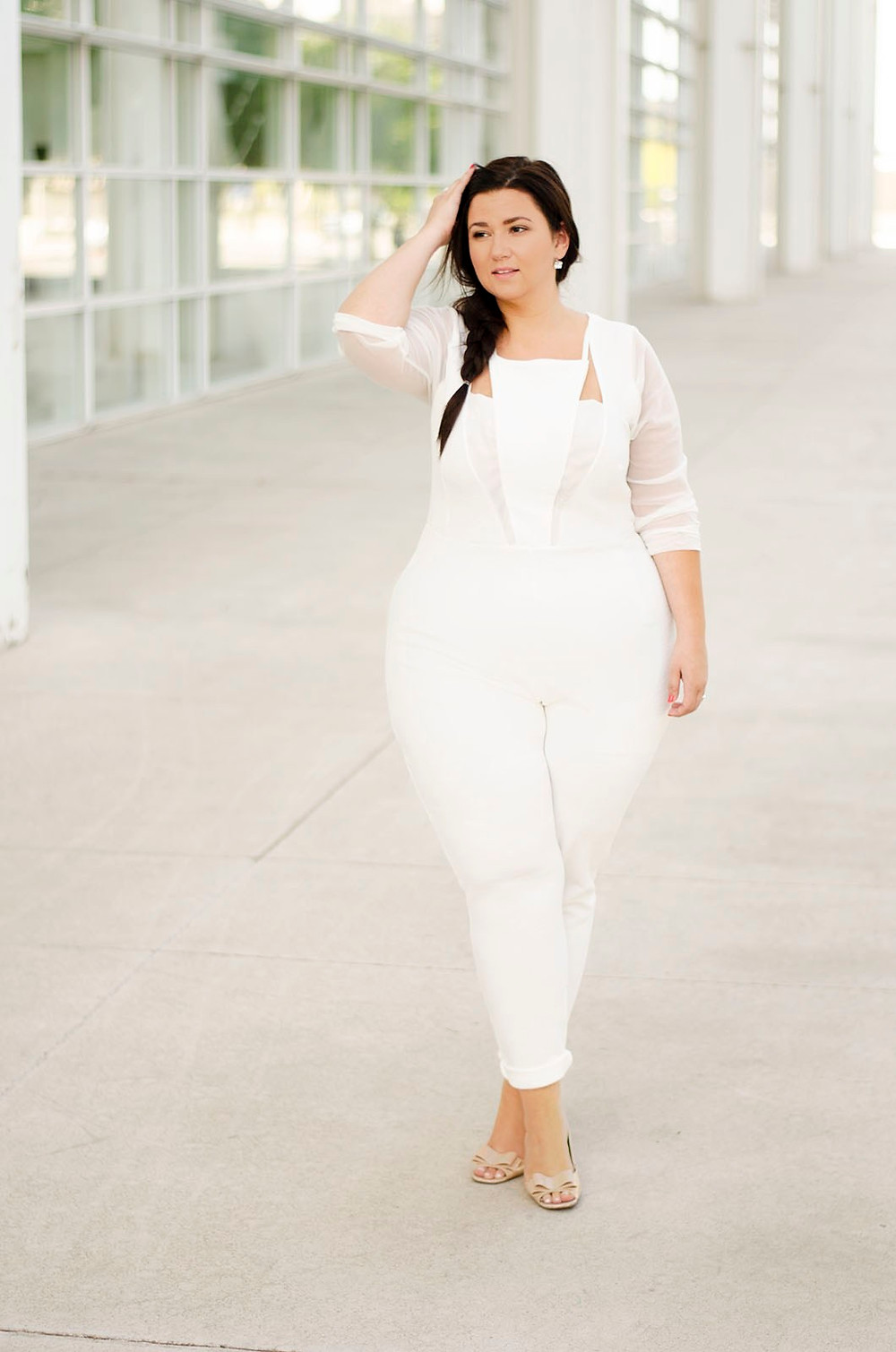 plus size jumpsuit white jumpsuit plus size bride plus size wedding crystal coons sometimes glam