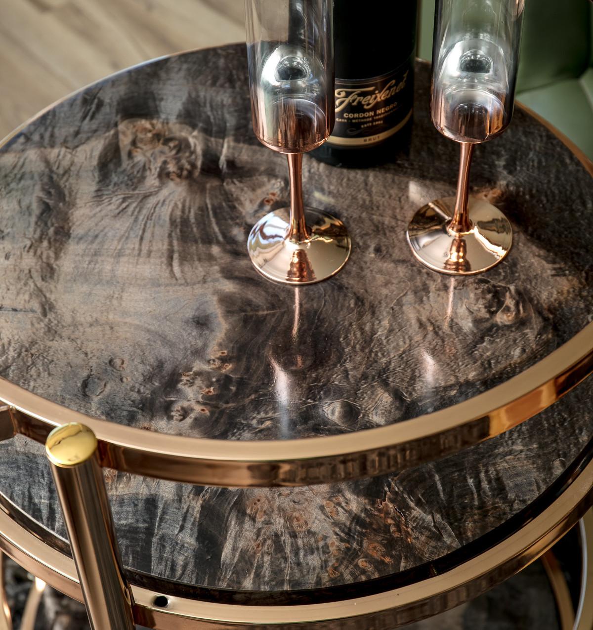 Rosegold Cocktail Bar Cart with ebonized Maple wood shelves.