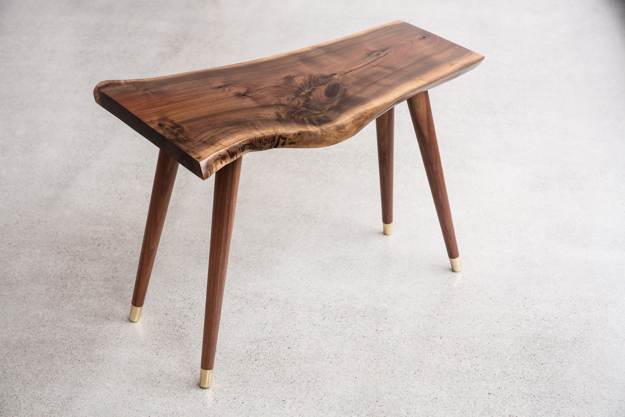 Midcentury Modern Walnut Live Edge small end table