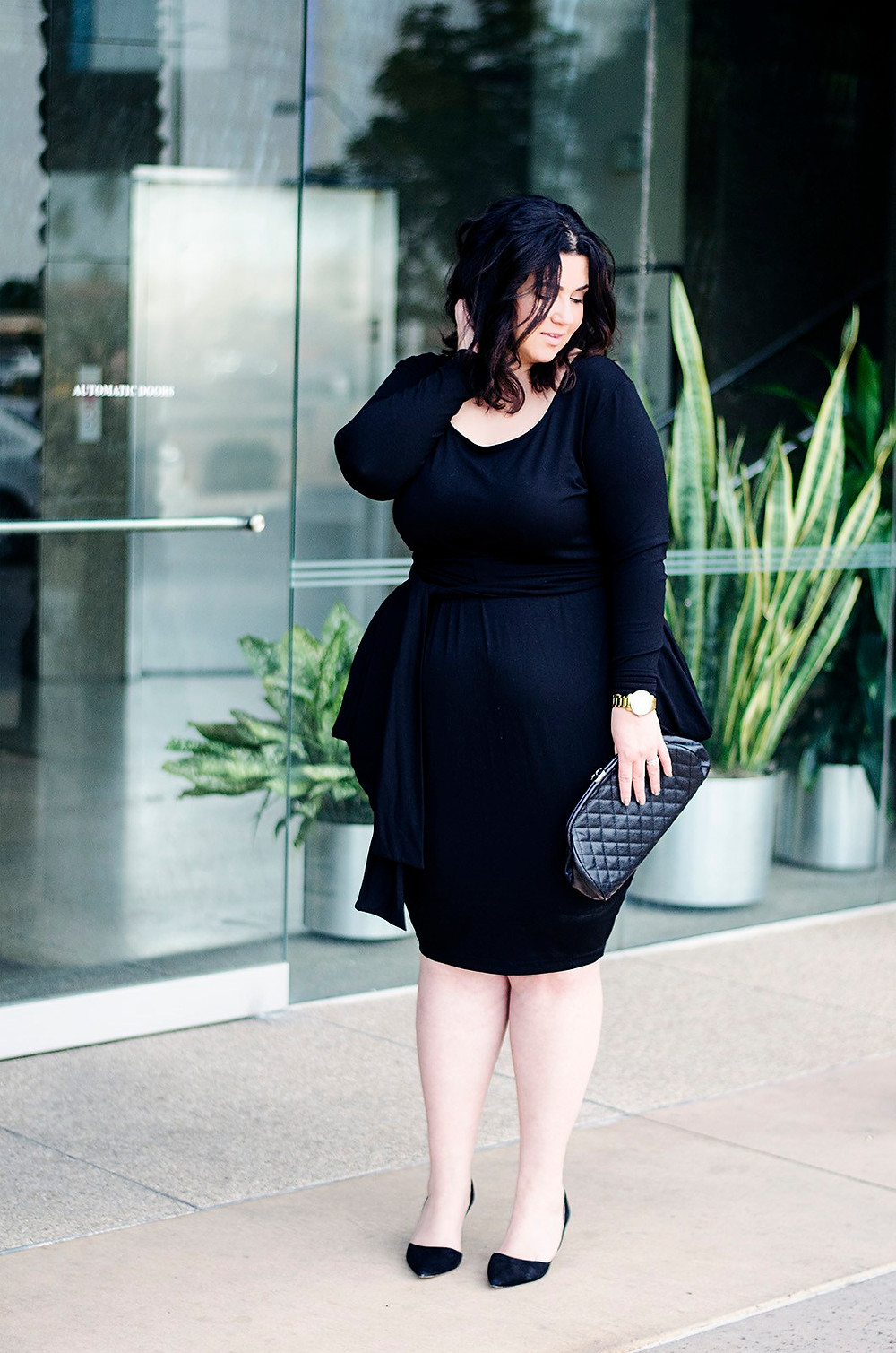plus size black cocktail dress ootd crystal coons sometimes glam
