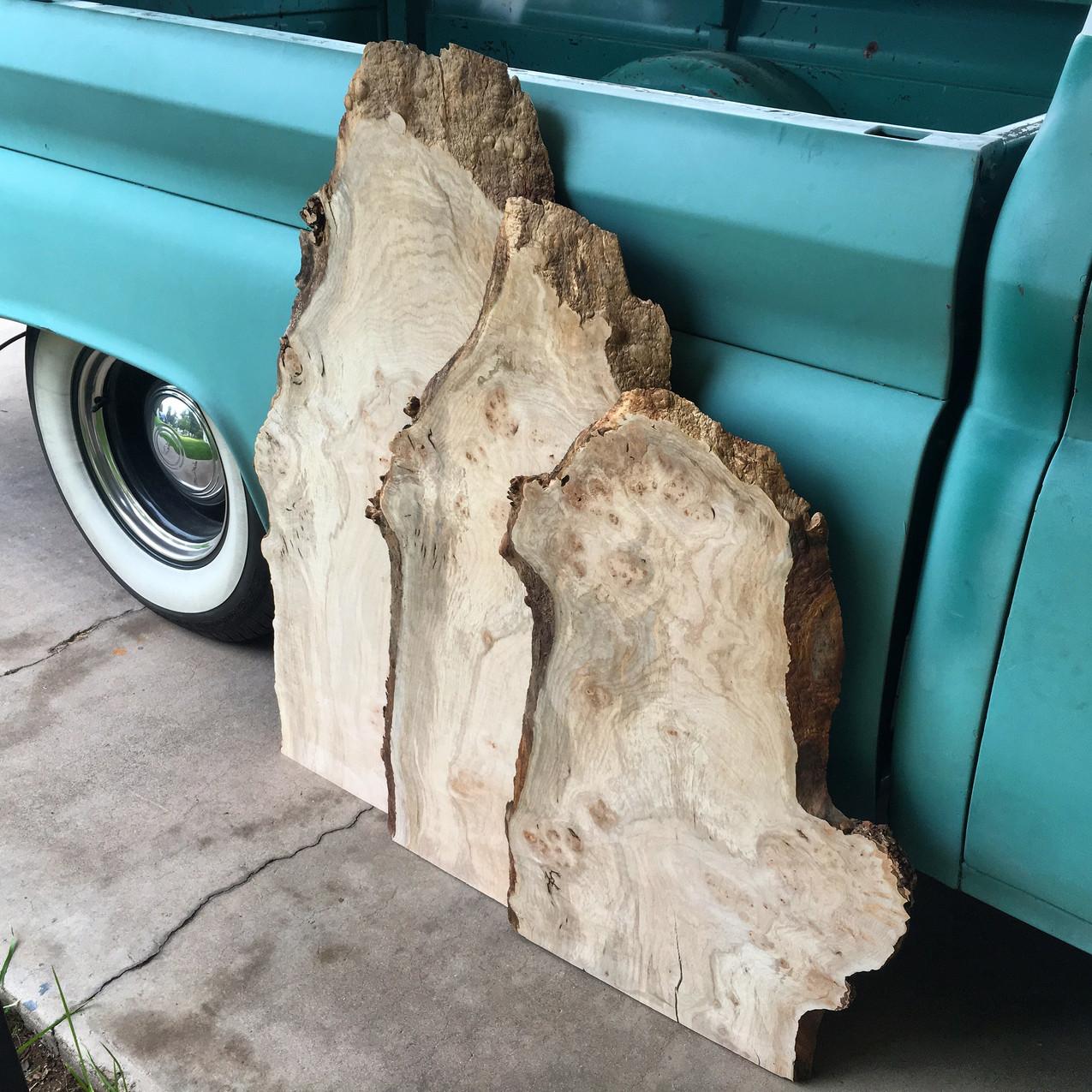 Highly Figured Maple Hardwood live edge Slabs