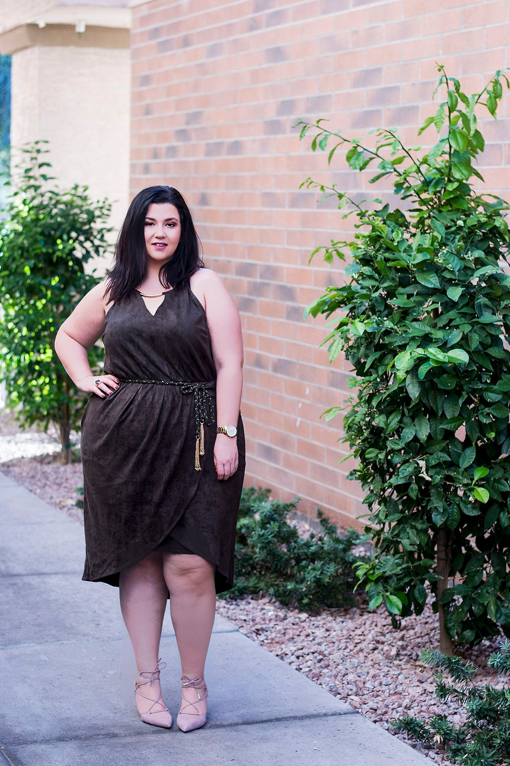 plus size suede olive dress city chic crystal coons sometimes glam ootd