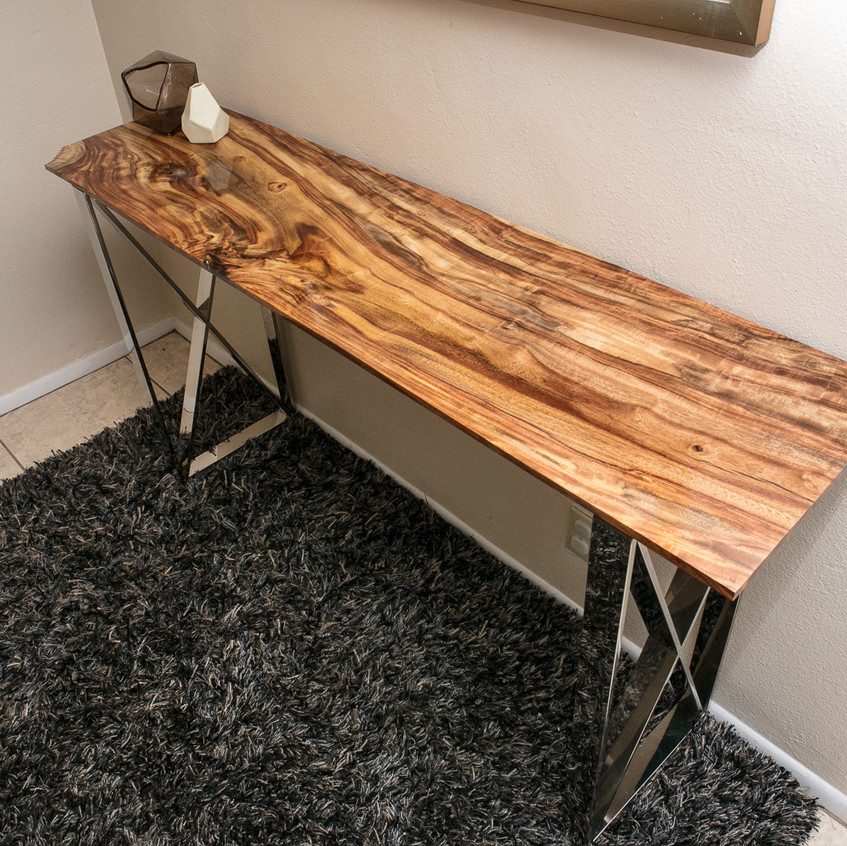 Rustic Modern Rosewood Console Table on frame X polished stainless steel legs