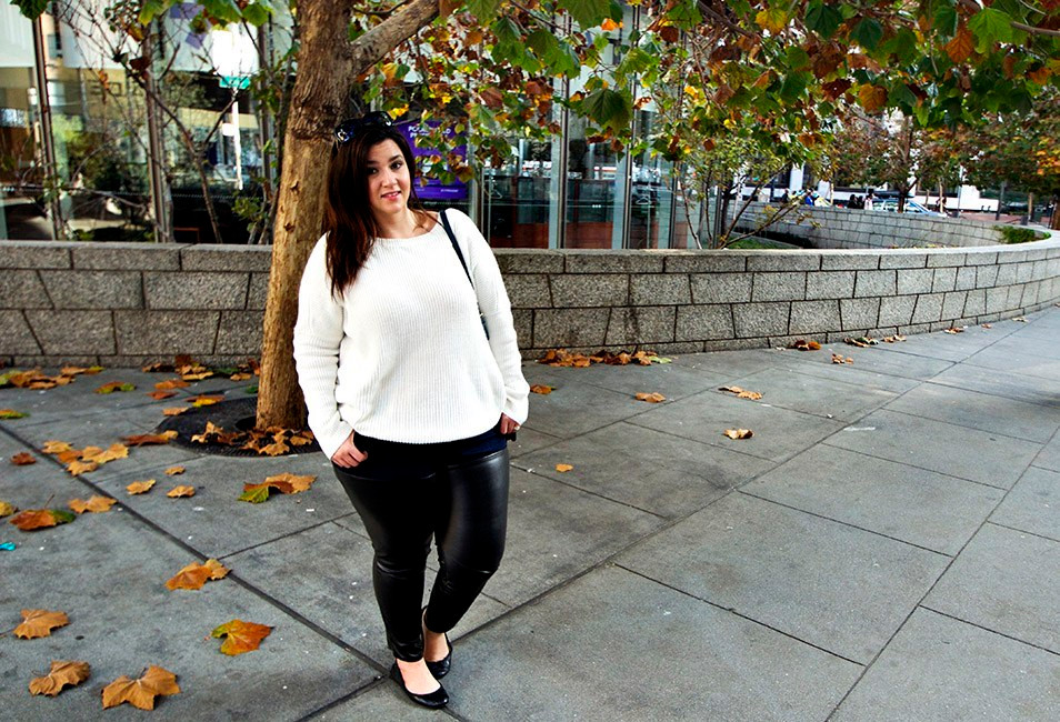 san francisco crystal coons casual ootd plus size leather pants casual look winter 2014