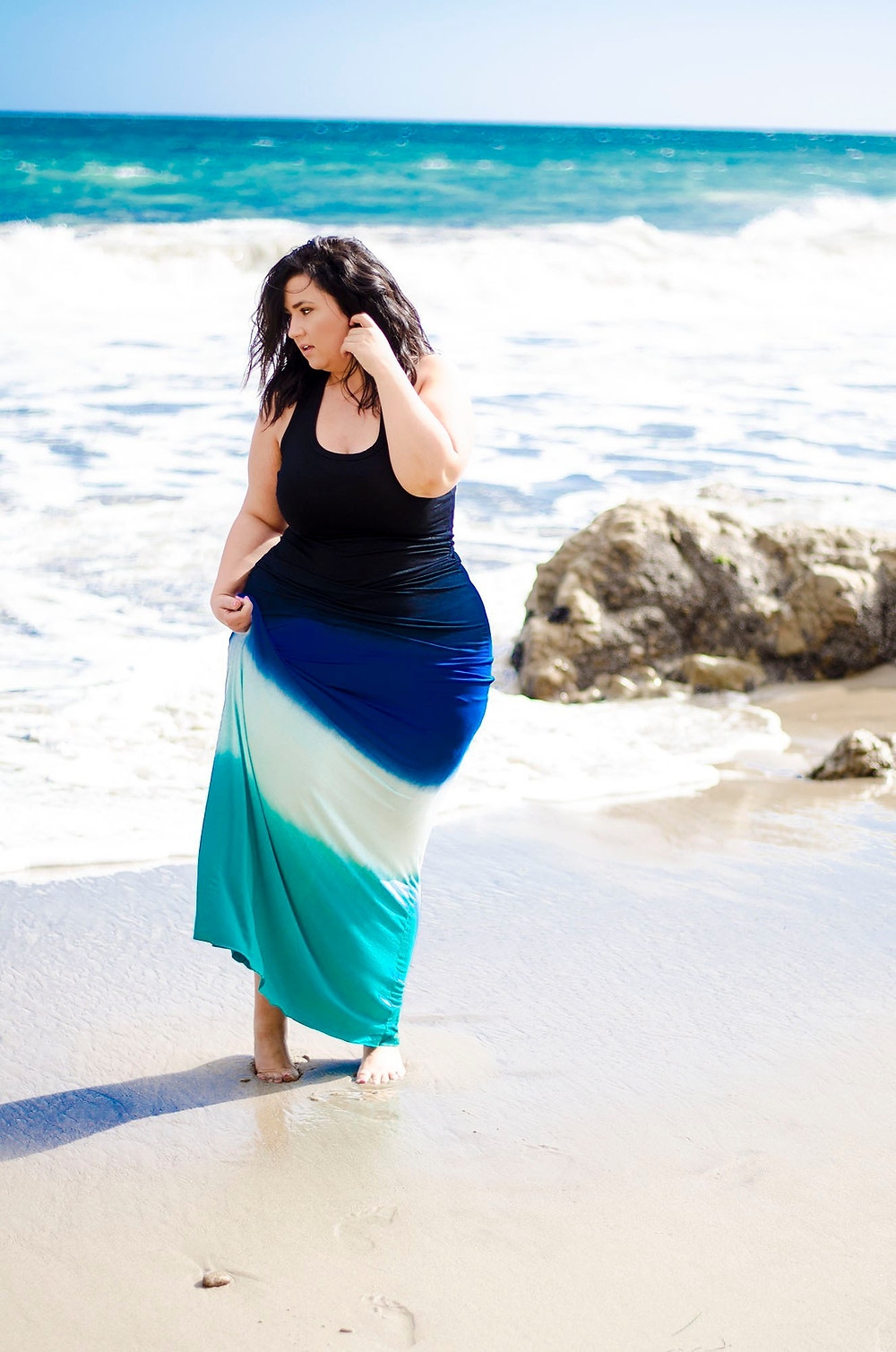 neiman marcus plus size maxi dress ootd el matador beach photo malibu sometimes glam crystal coons