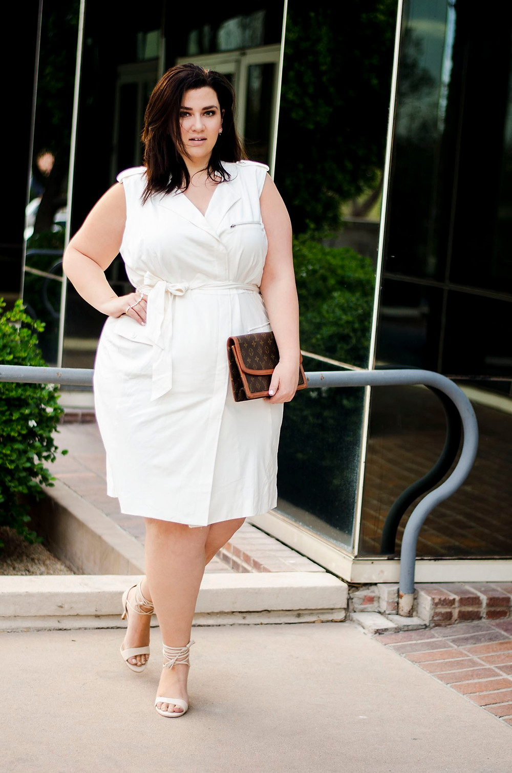 plus size white dress moto dress affordable fashion to figure crystal coons sometimes glam plus size ootd
