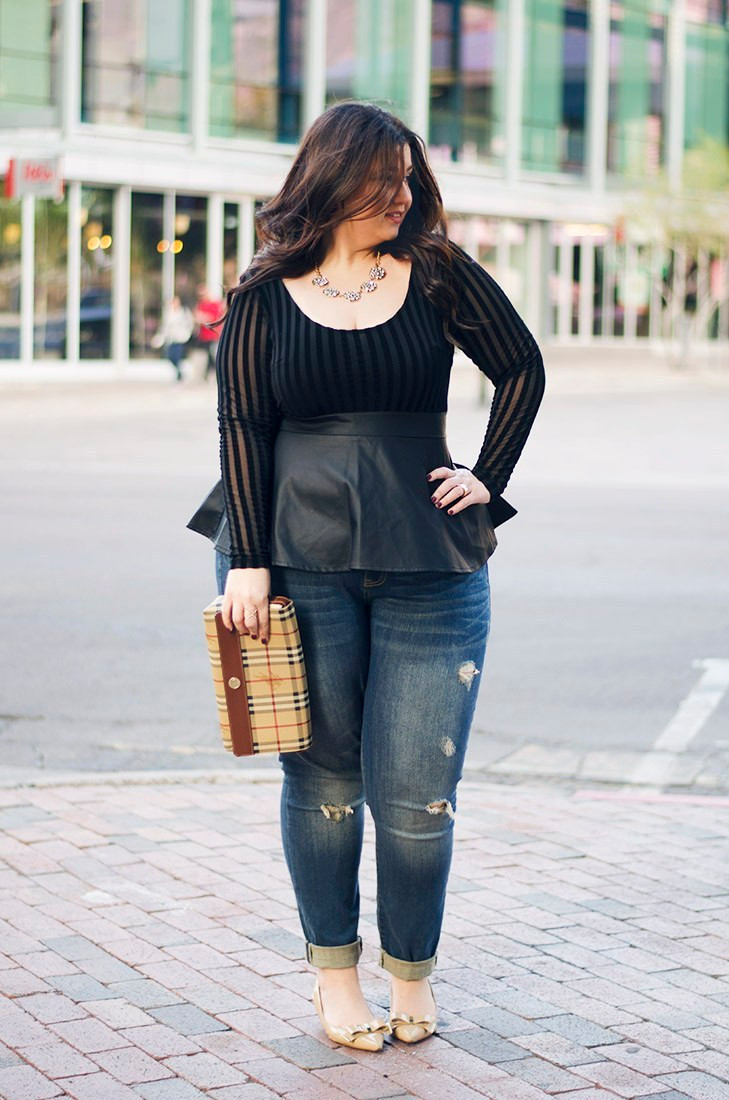 crystal coons plus size date night outfit leather peplum burberry sexy