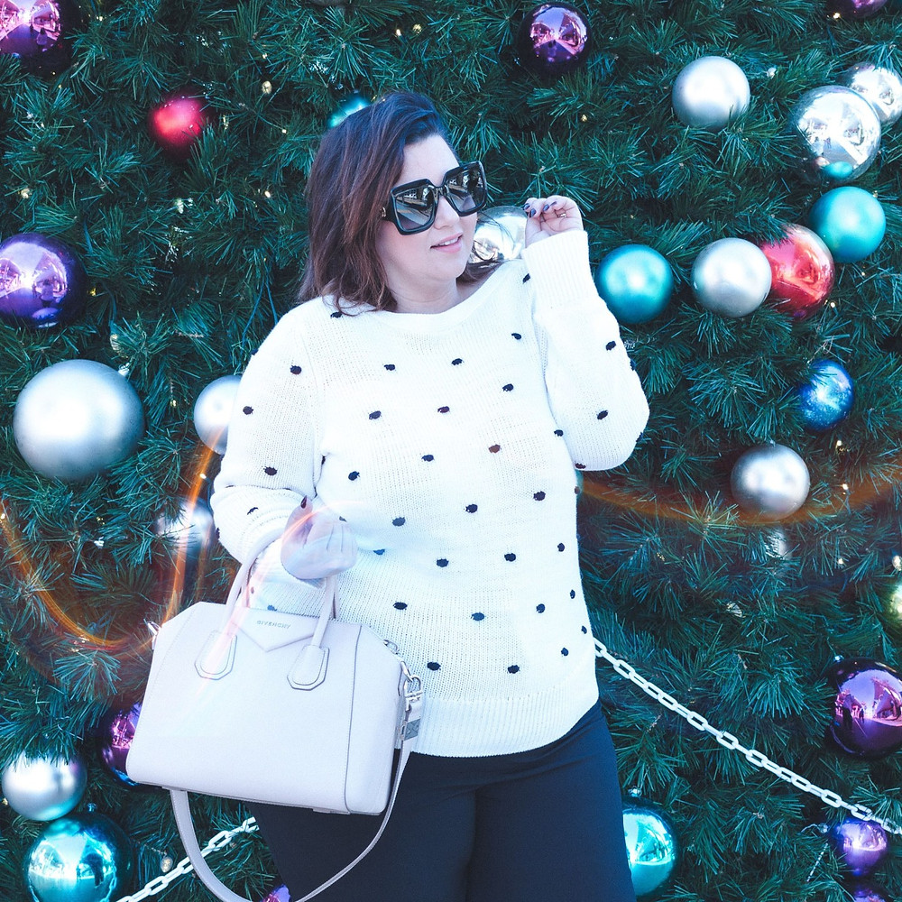 plus size ootd holiday christmas office party loft ann taylor