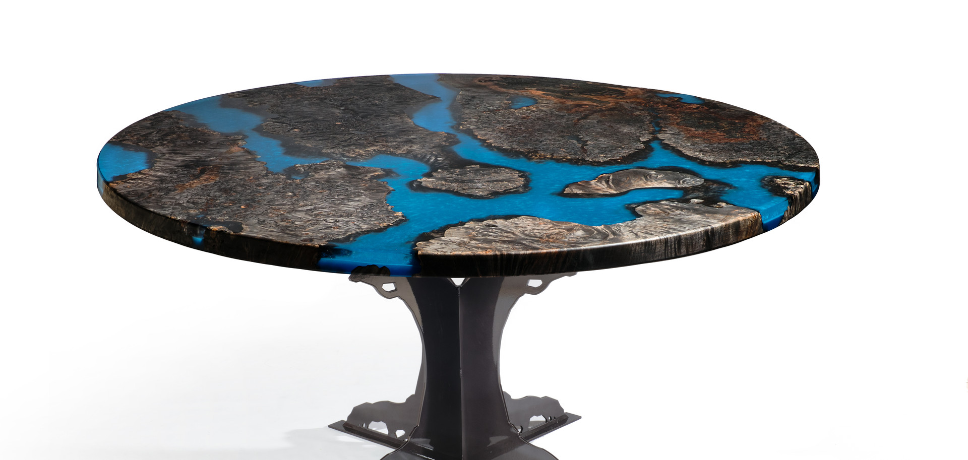 """58"""" Earth Resin Table with Steel Tree Base"""