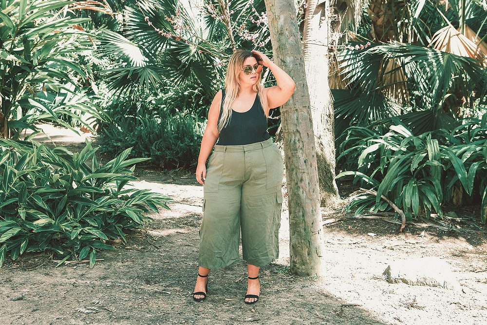 rachel roy, plus size cargo pants, plus size culottes, plus size wide leg, crystal coons, sometimes glam, los angeles, san diego