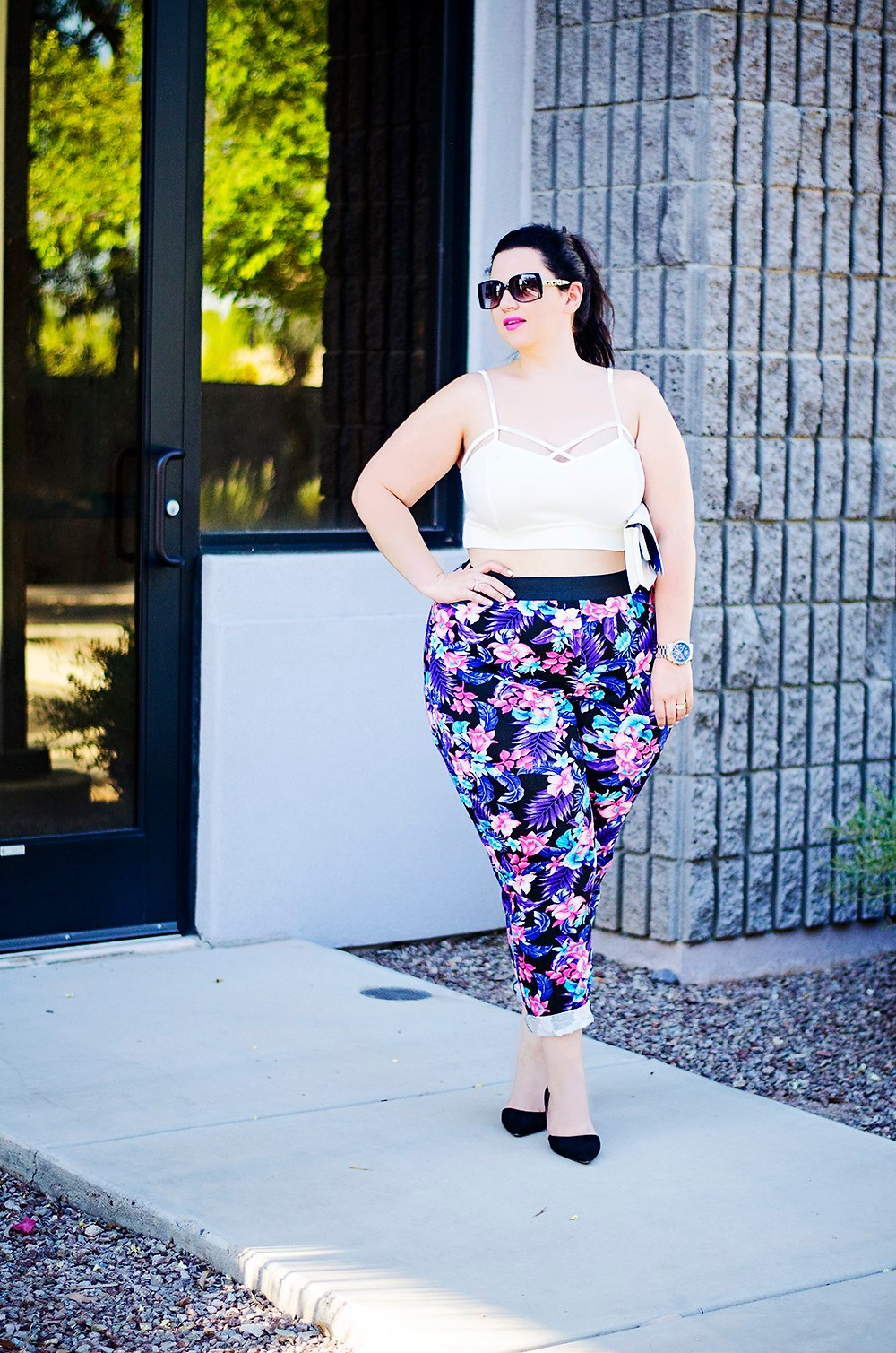 floral pants crop top plus size ootd sometimes glam crystal coons what to wear summer party