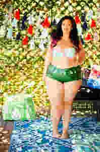 plus size mermaid swimwear pink hair crystal coons swimsuit fatkini swim week