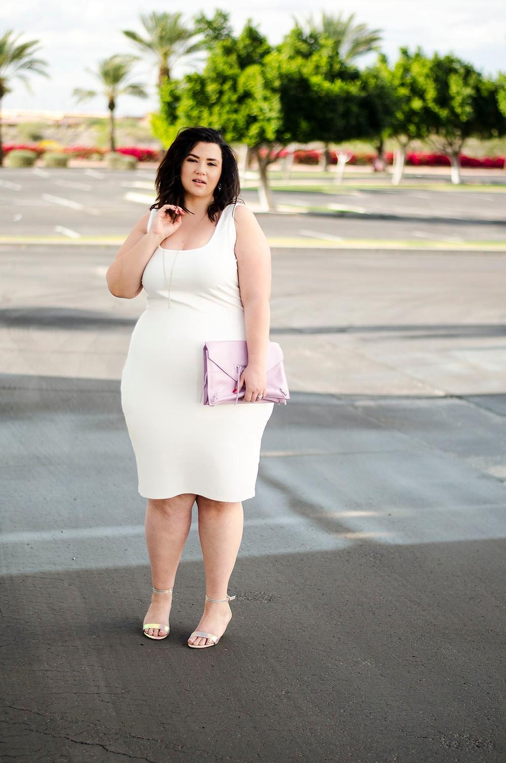 plus size white bodycon plus size tight dress city chic sometimes glam crystal coons phoenix az blogger