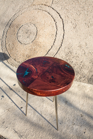 """Red Gum Burl """"4 Corners"""" Bold End Table"""