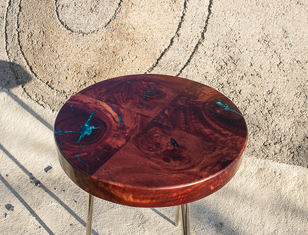 sustainable urban lumber red gum eucalyptus and turquoise on repurposed vintage legs