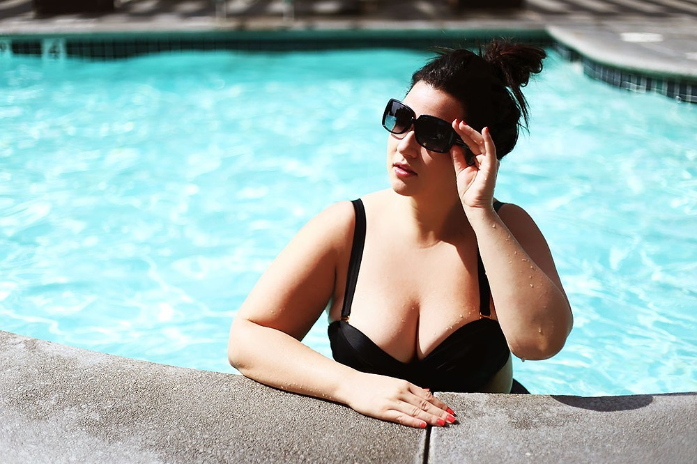 plus size swim bikini pool bathing suit black bikini crystal coons  plus size fatkini