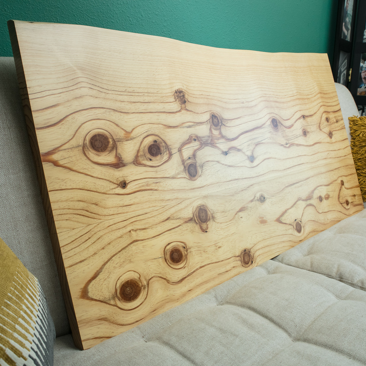 Bookmatched Canary Island Pine counter top.