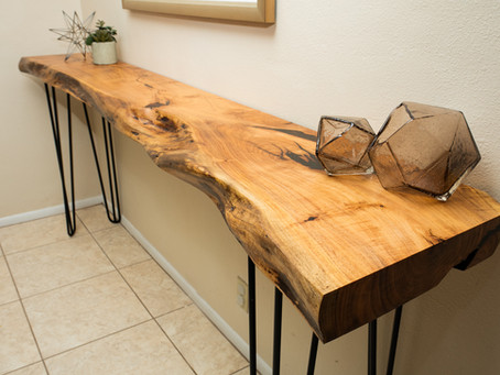 Custom Reclaimed Sonoran Mesquite Live Edge Console Table for AVE Styles