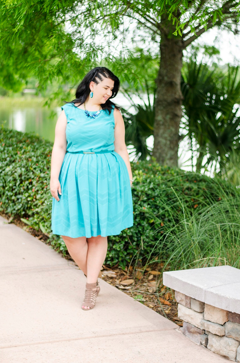 gwynnie bee ootd summer 2016 plus size fashion dress blue crystal coons sometimes glam