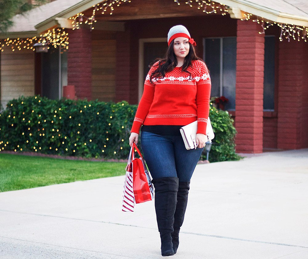 crystal coons casual holiday party outfit ootd over the knee plus size boots