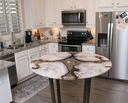 """42"""" Bistro River Table, White Waxed Burl+Clear/Gold Shimmer Resin"""
