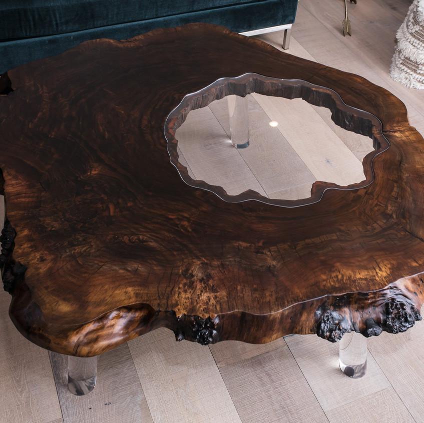 Modern rustic coffee table walnut burl and acrylic