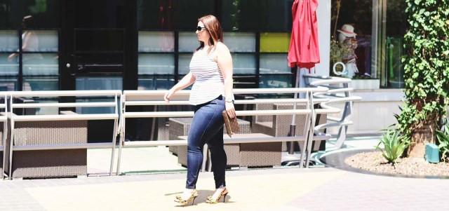 striped peplum   skinny jeans   leopard shoes