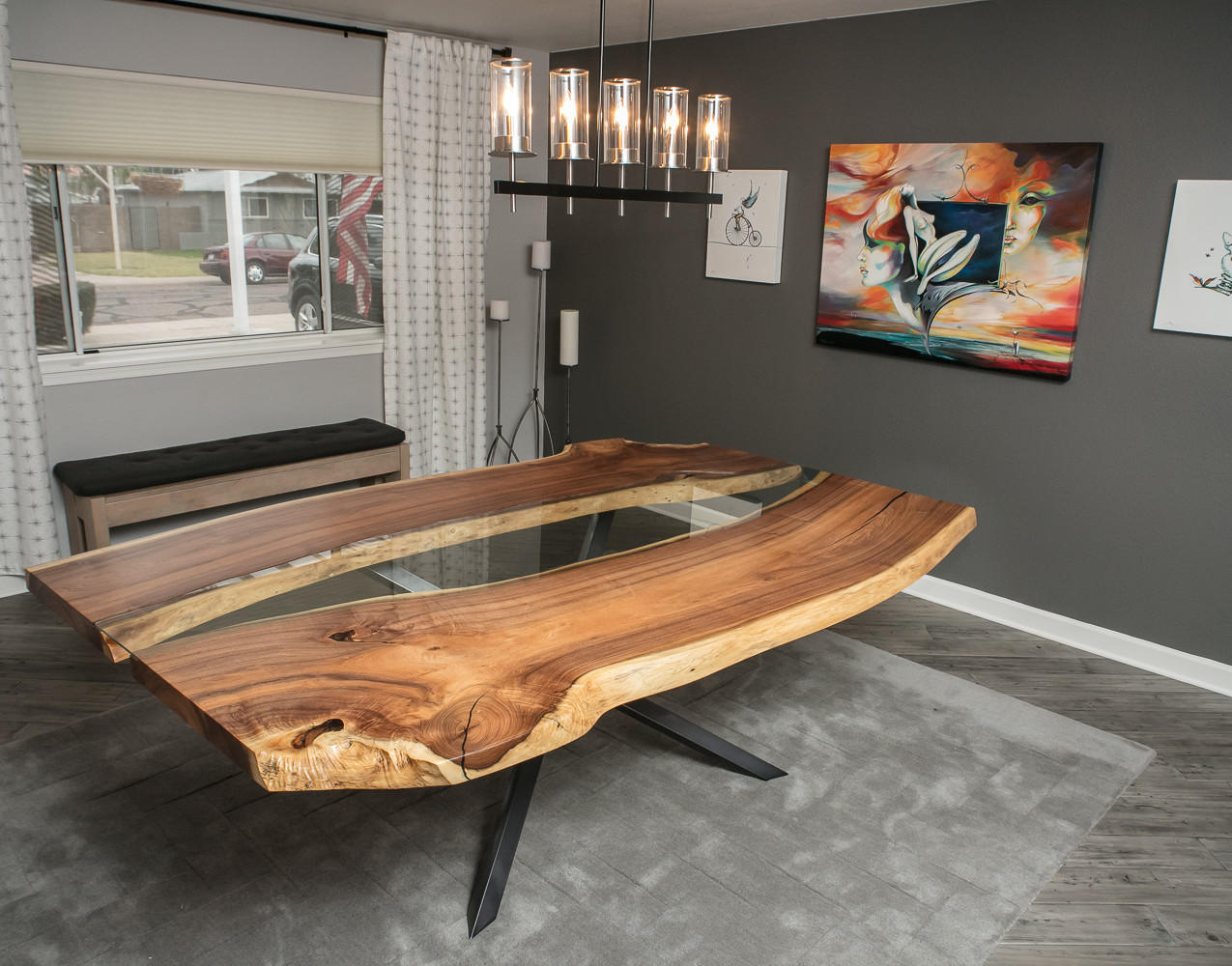 Double Live Edge bookmatched reclaimed mesquite dining table with glass inlay on modern X base