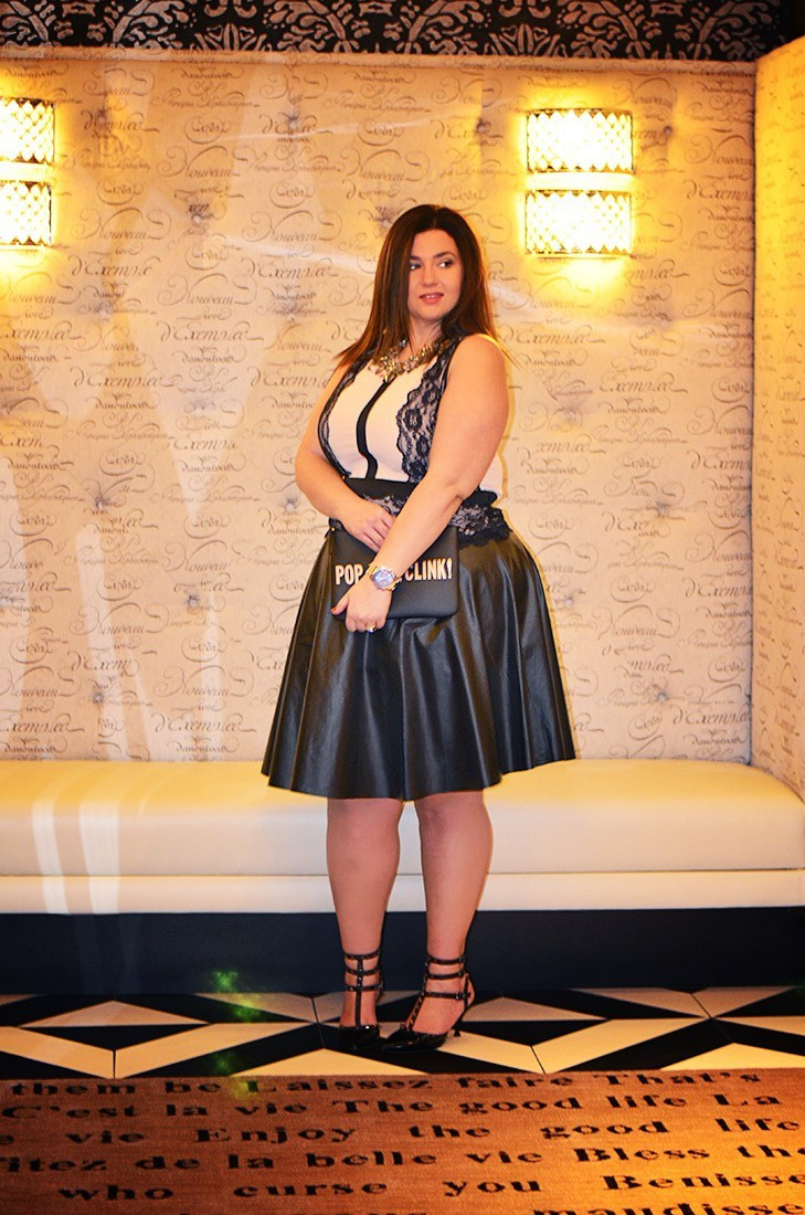 crystal coons sometimes glam vegas eloquii party dress ootd lace dress lace and leather
