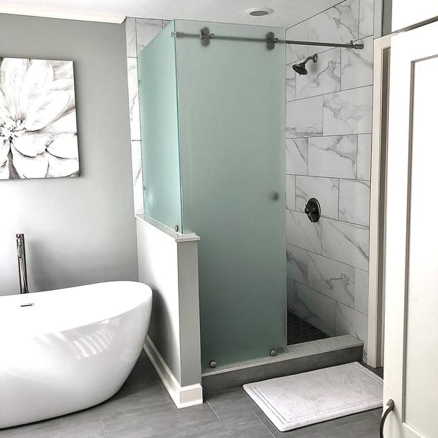 Tile Shower & Freestanding Tub