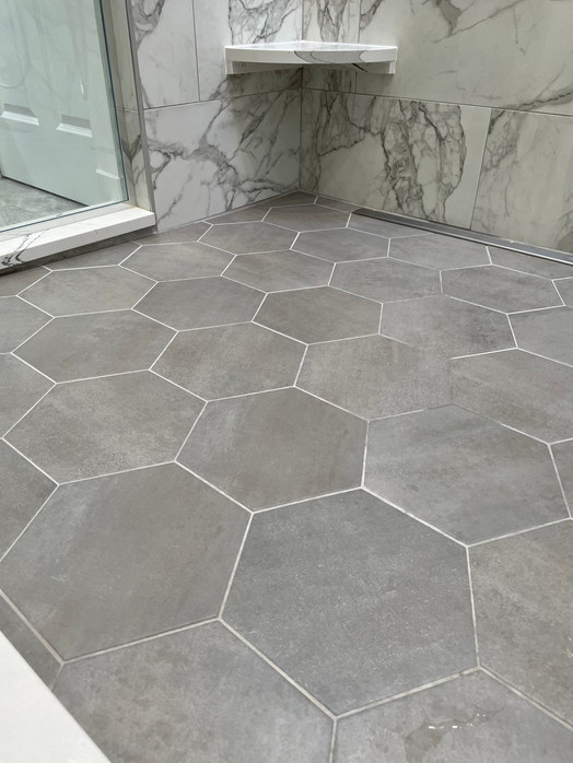 Hexagon shower floor tile