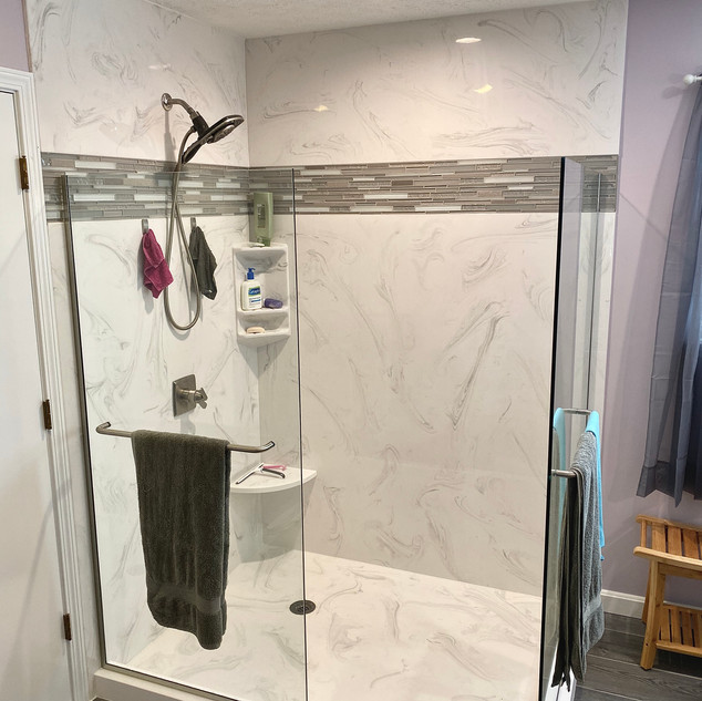 Marble Shower with Tile Accent