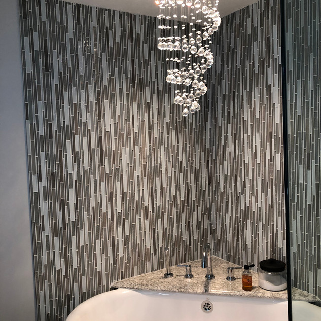 Tile Wall with Chandelier